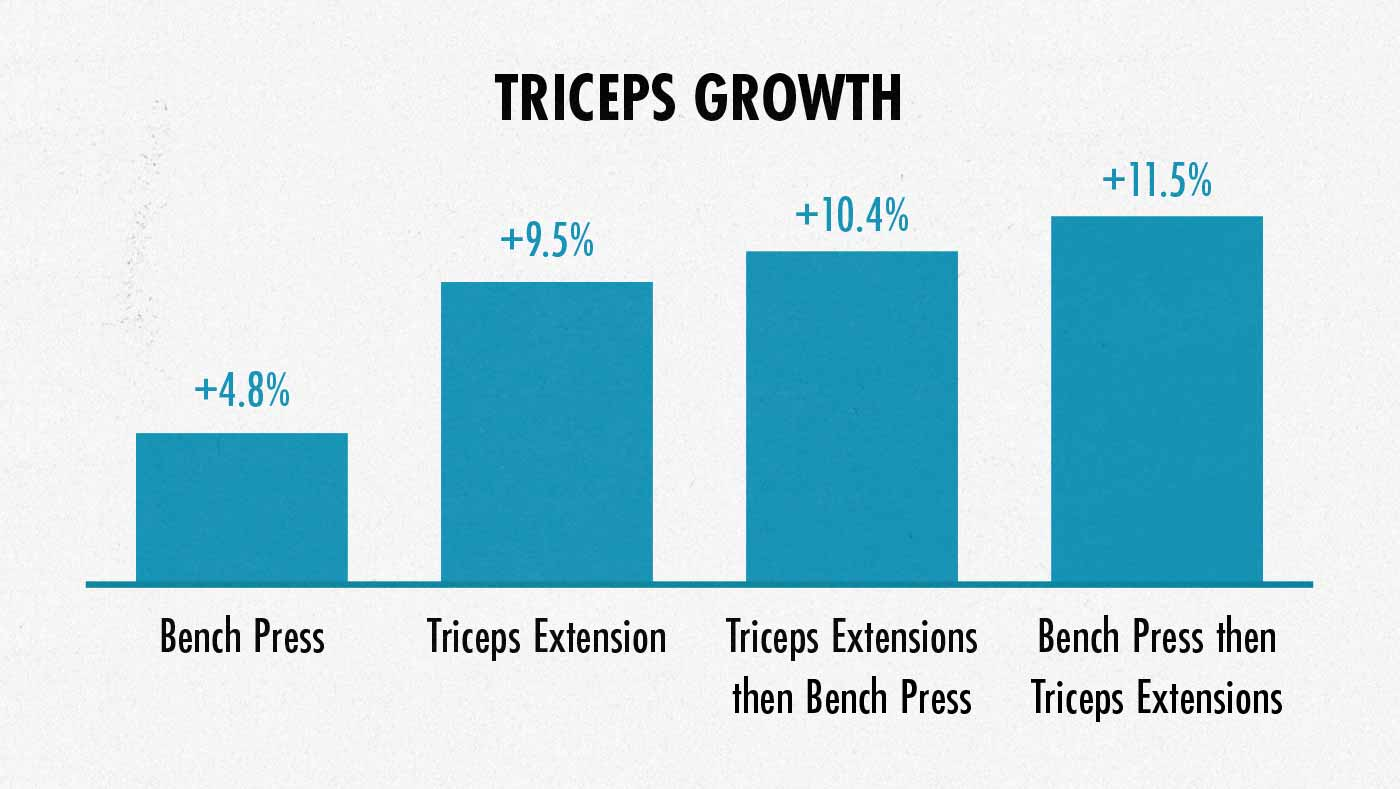 Graph showing triceps muscle growth from the bench press and triceps extensions.