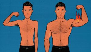 Illustration of a skinny guy building muscle on keto.