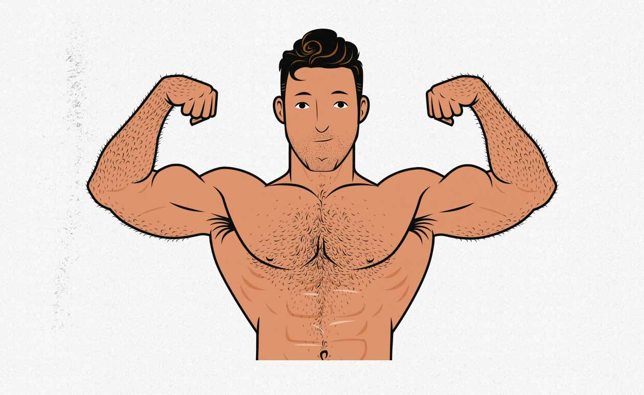 Illustration of a bodybuilder gaining muscle mass on keto.