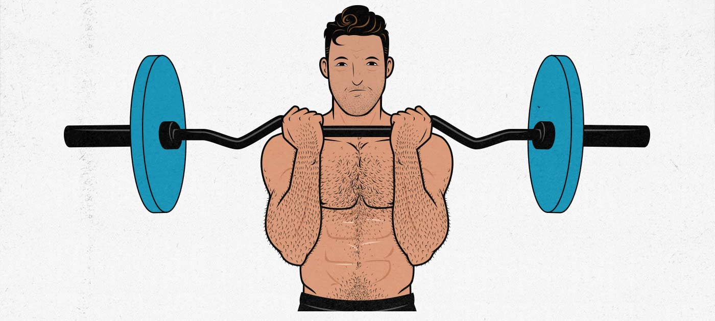 Illustration of a man doing biceps curls