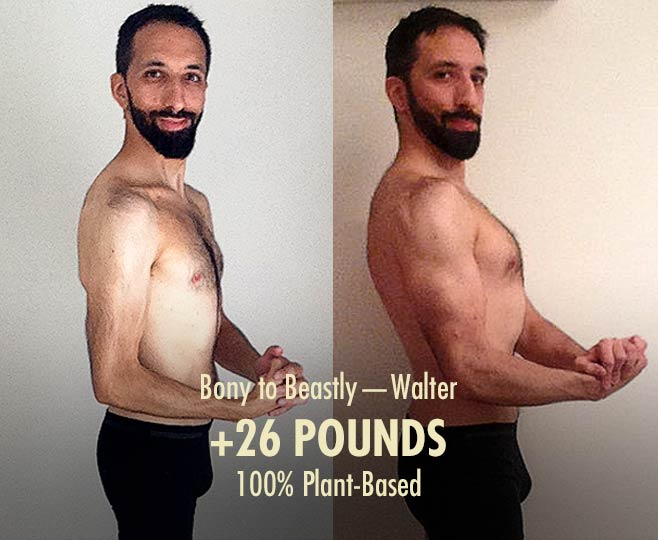 Walter's before and after photos from bulking on a plant-based diet
