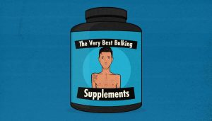 Illustration of a tub of weight gainer powder.
