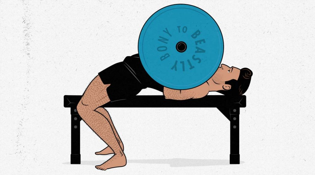 Illustration of a man doing the barbell bench press with an arched back.