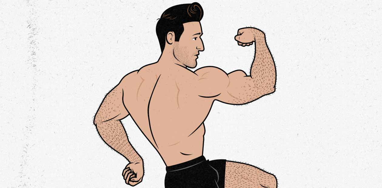 Illustration of a bodybuilder flexing