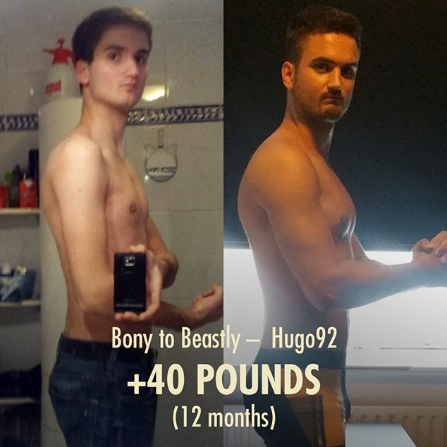 Before and after photo of a skinny guy leanly building muscle and bulking up in one year