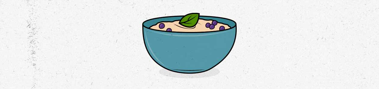 Illustration of a bowl of oatmeal.