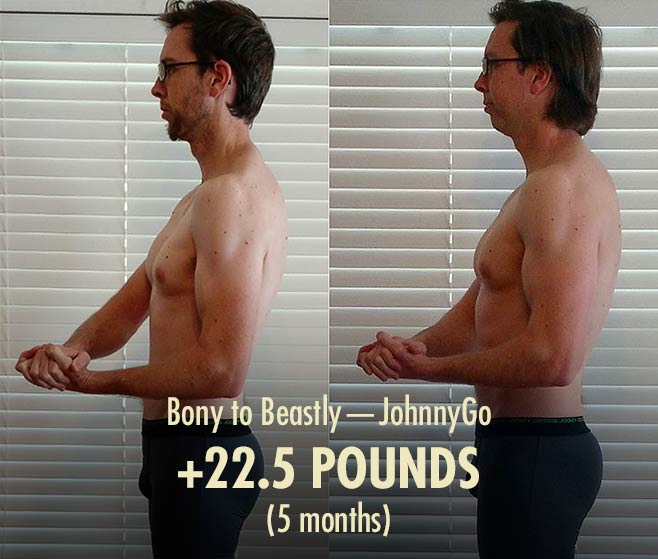 Before and after photo of an intermediate guy building muscle
