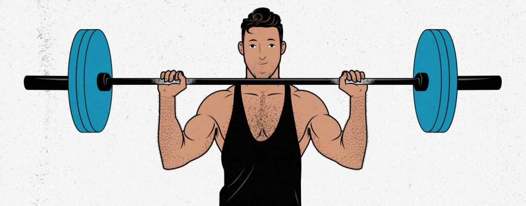 Illustration of a man doing a barbell overhead press