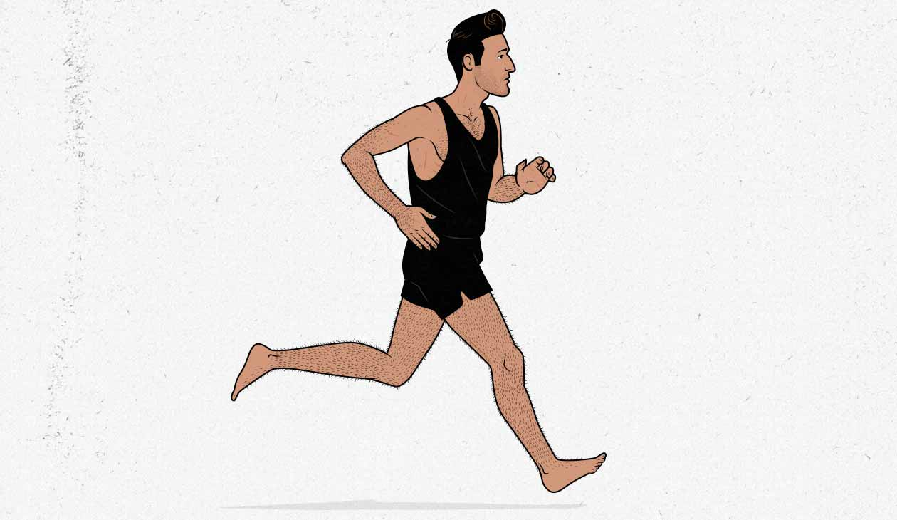 Illustration of a skinny ectomorph jogging / doing cardio.