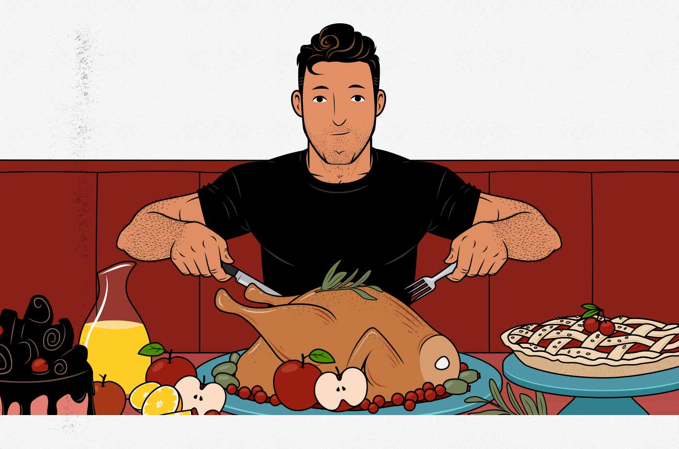 Illustration of a skinny hardgainer eating enough calories to gain weight.
