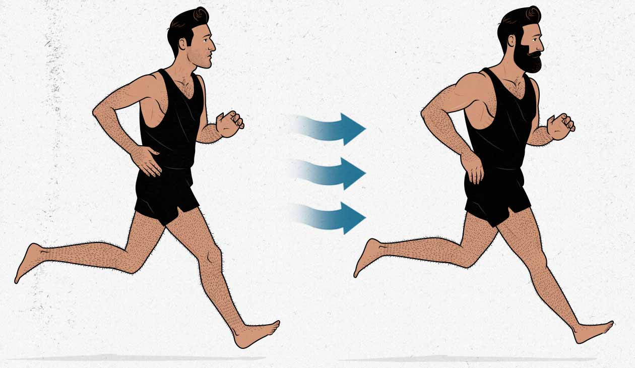 Illustration of a skinny guy running and becoming more muscular.