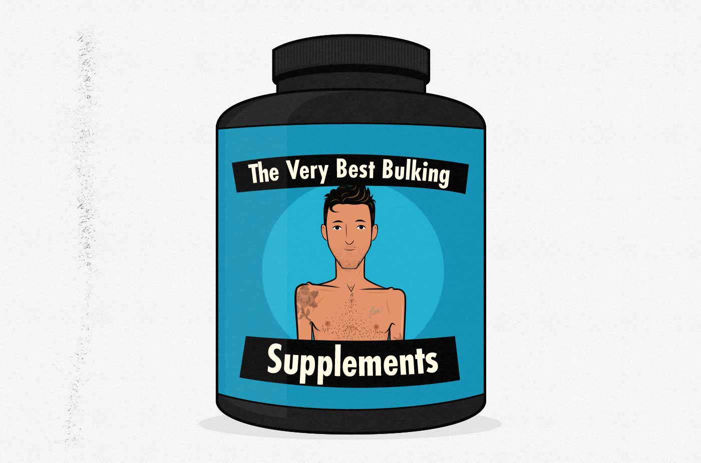 Illustration of a tub of weight gainer supplement powder.