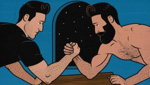 Illustration of two men arm wrestling
