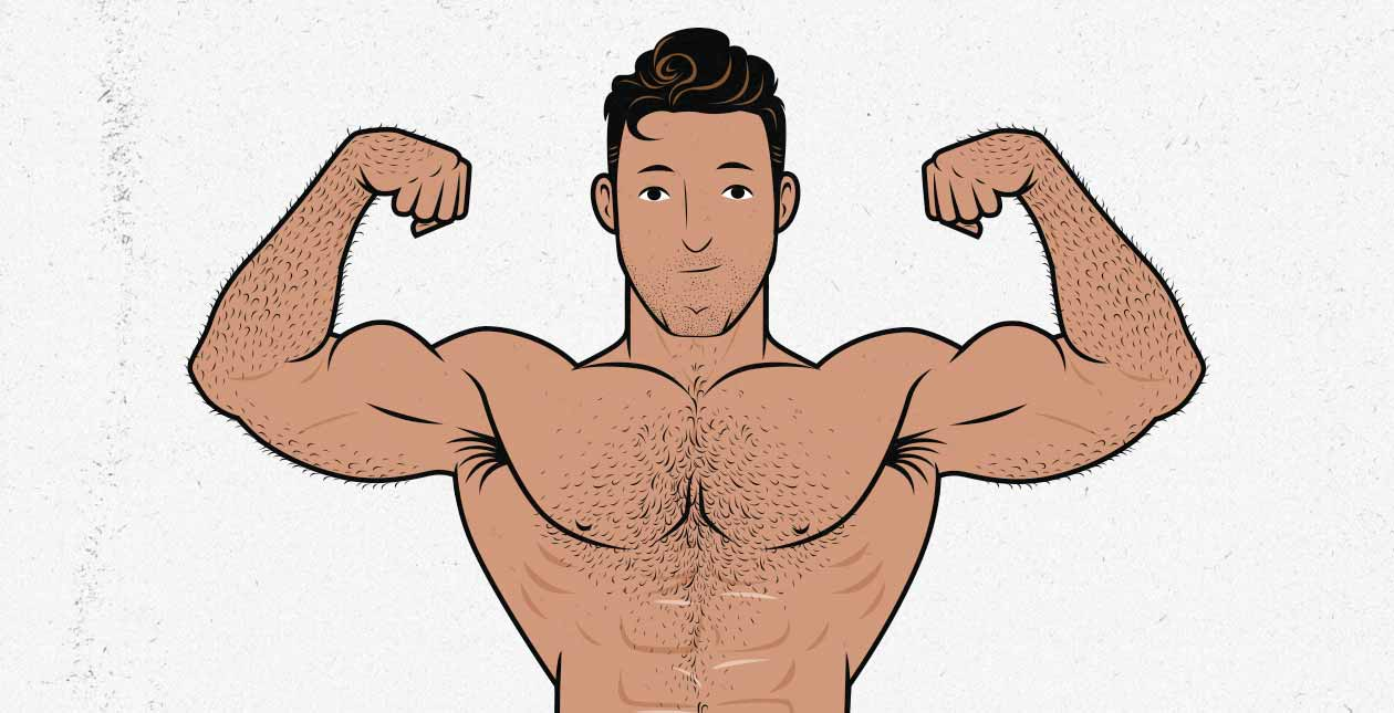 Illustration of a man doing a front-double biceps flex (bodybuilding pose).