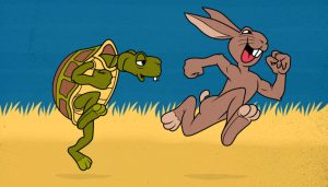 Illustration of the tortoise and the hare
