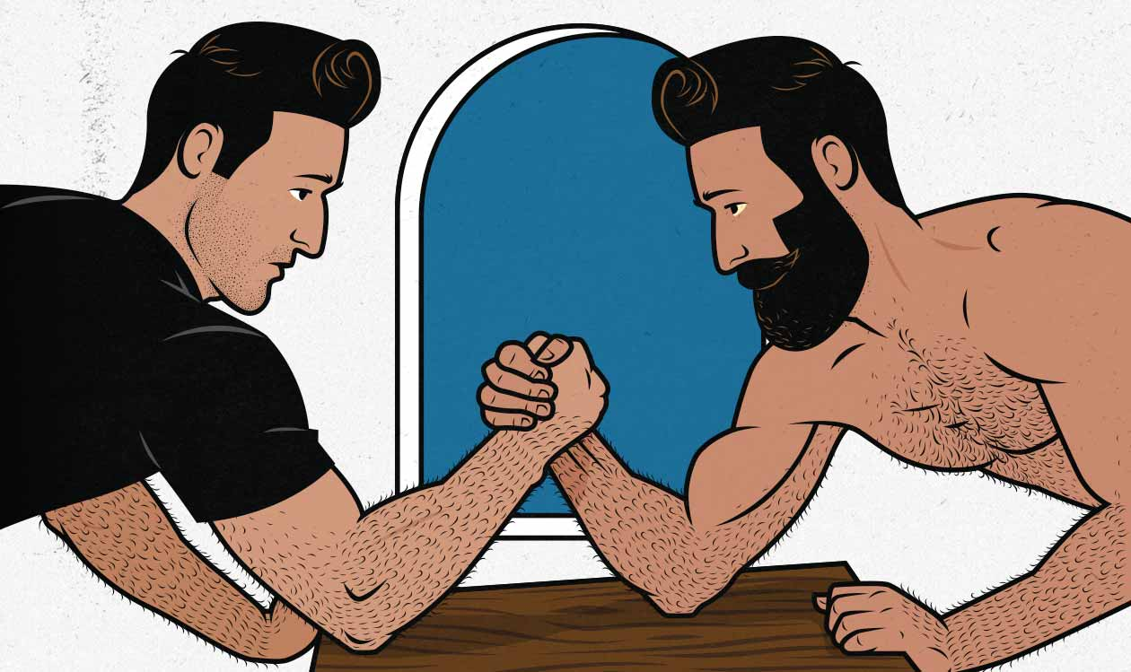 Illustration of a clean bulker arm wrestling a dirty bulker.