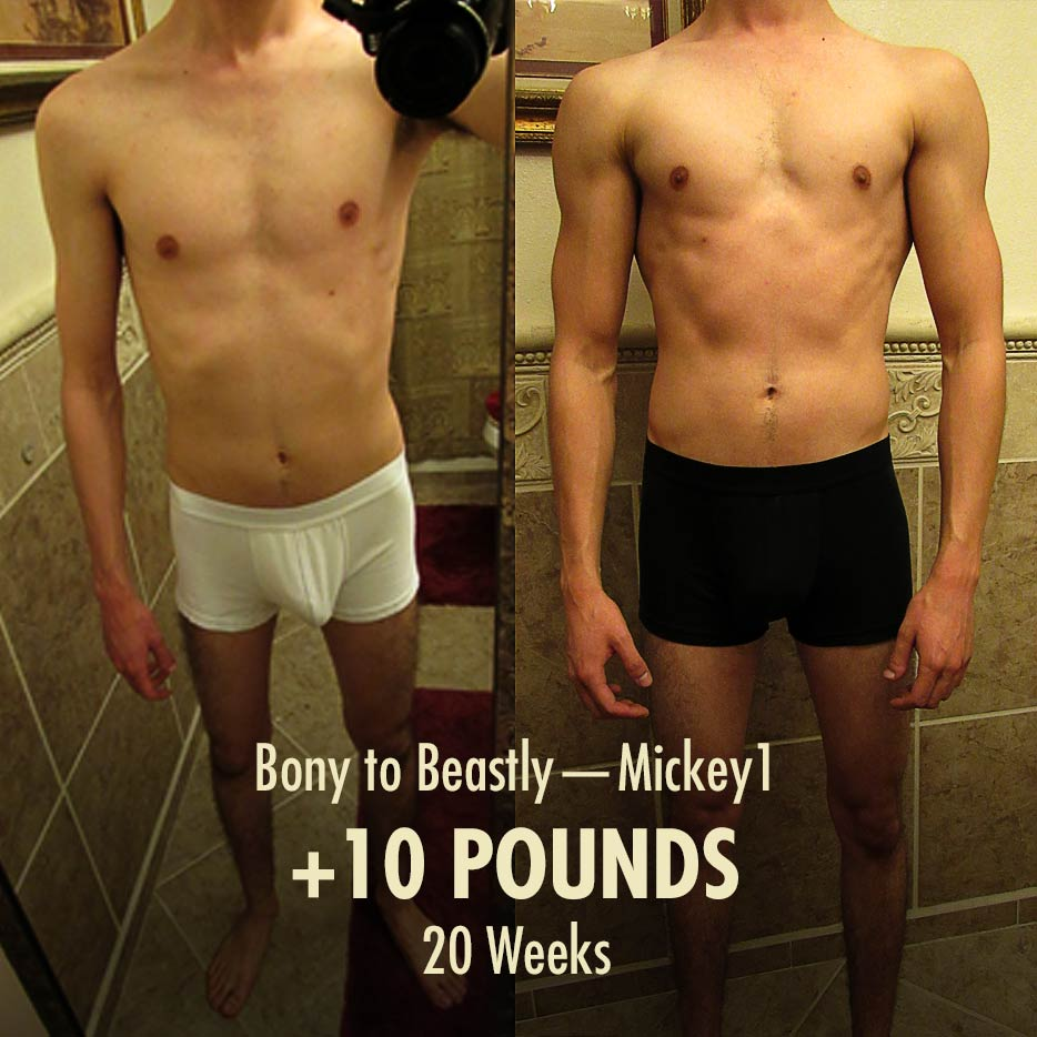 Before and after photo of a skinny ectomorph building muscle and bulking up.