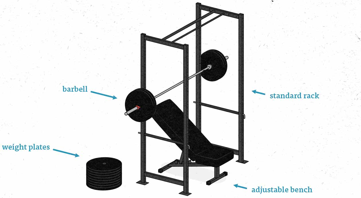 Illustation of a simple barbell home gym