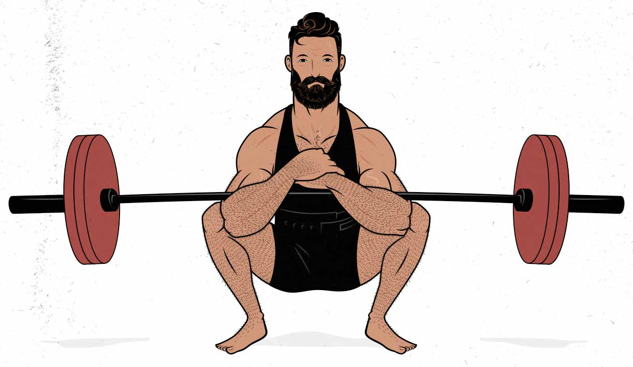 Illustration of a Zercher squat