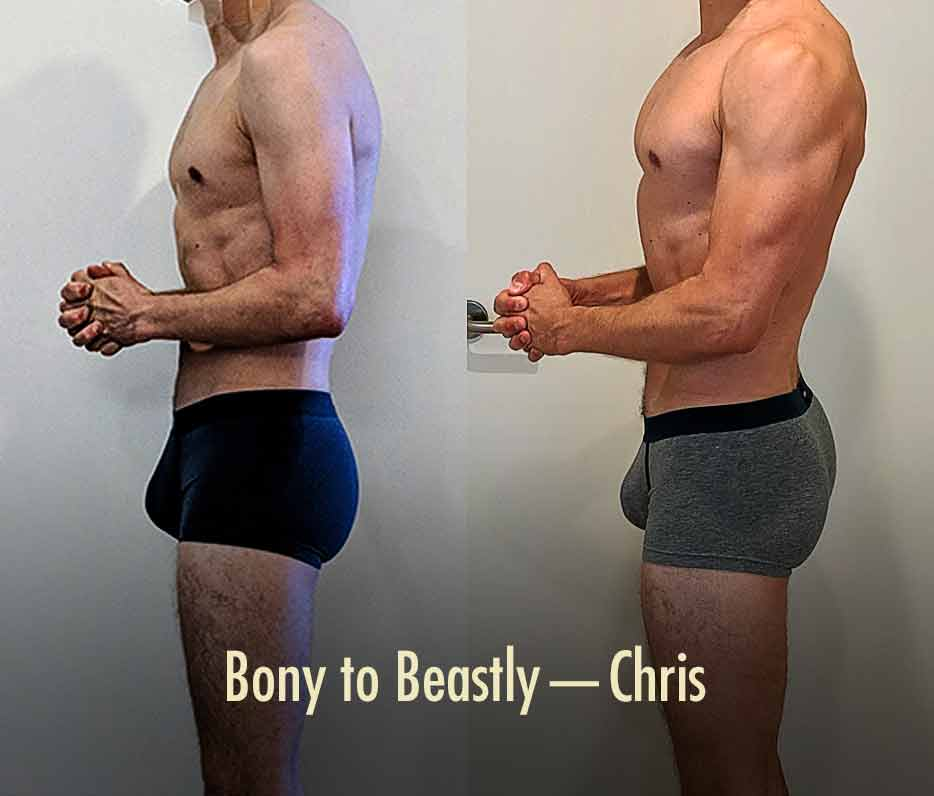 Before and after photo of a guy improving his posture and muscle size