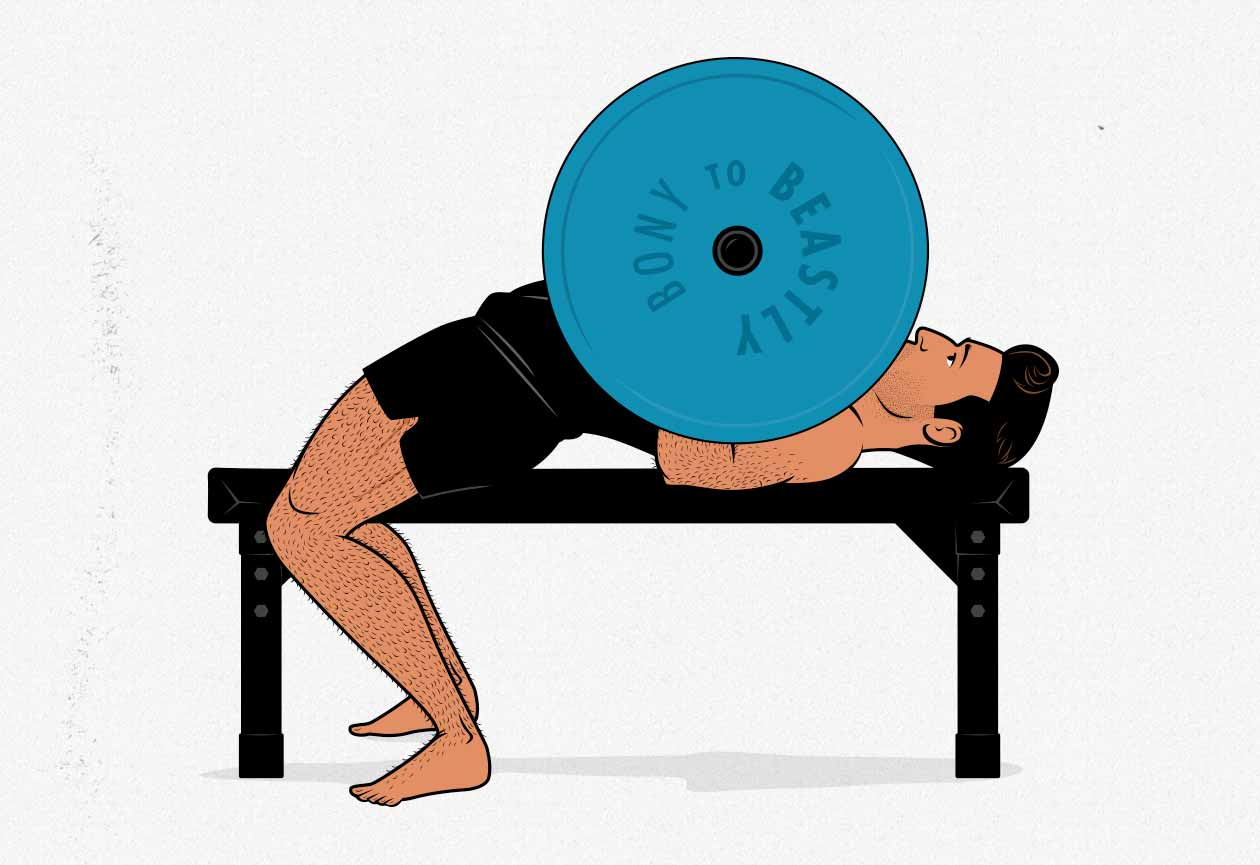 Illustration of a man doing a barbell bench press.