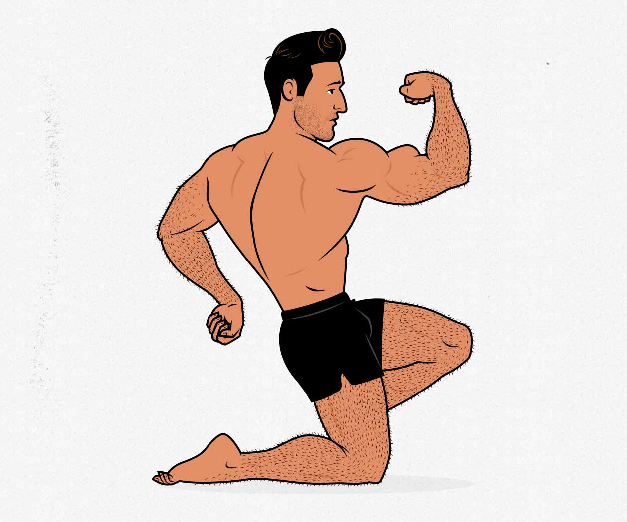 Illustration of a bodybuilder flexing his biceps (and other muscles).
