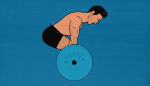 Illustration of a man doing a conventional barbell deadlift