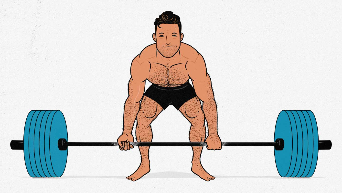 Illustration of a man doing a conventional deadlift.
