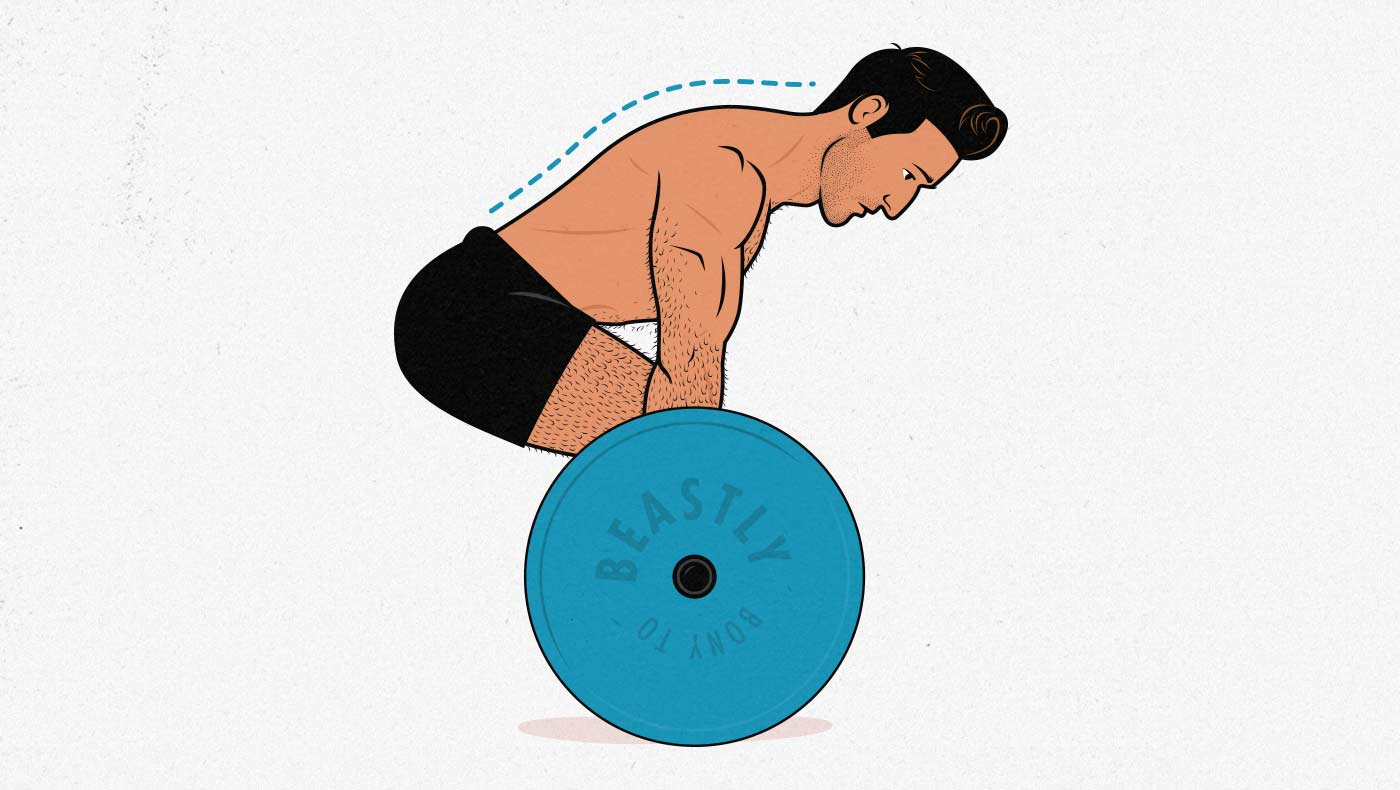Illustration of a man doing a conventional barbell deadlift.