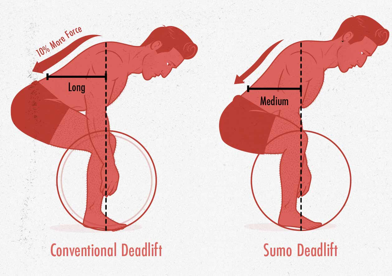 Moment arms diagram of the conventional and sumo deadlift.