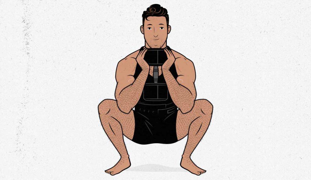 Illustration of a man doing a goblet squat