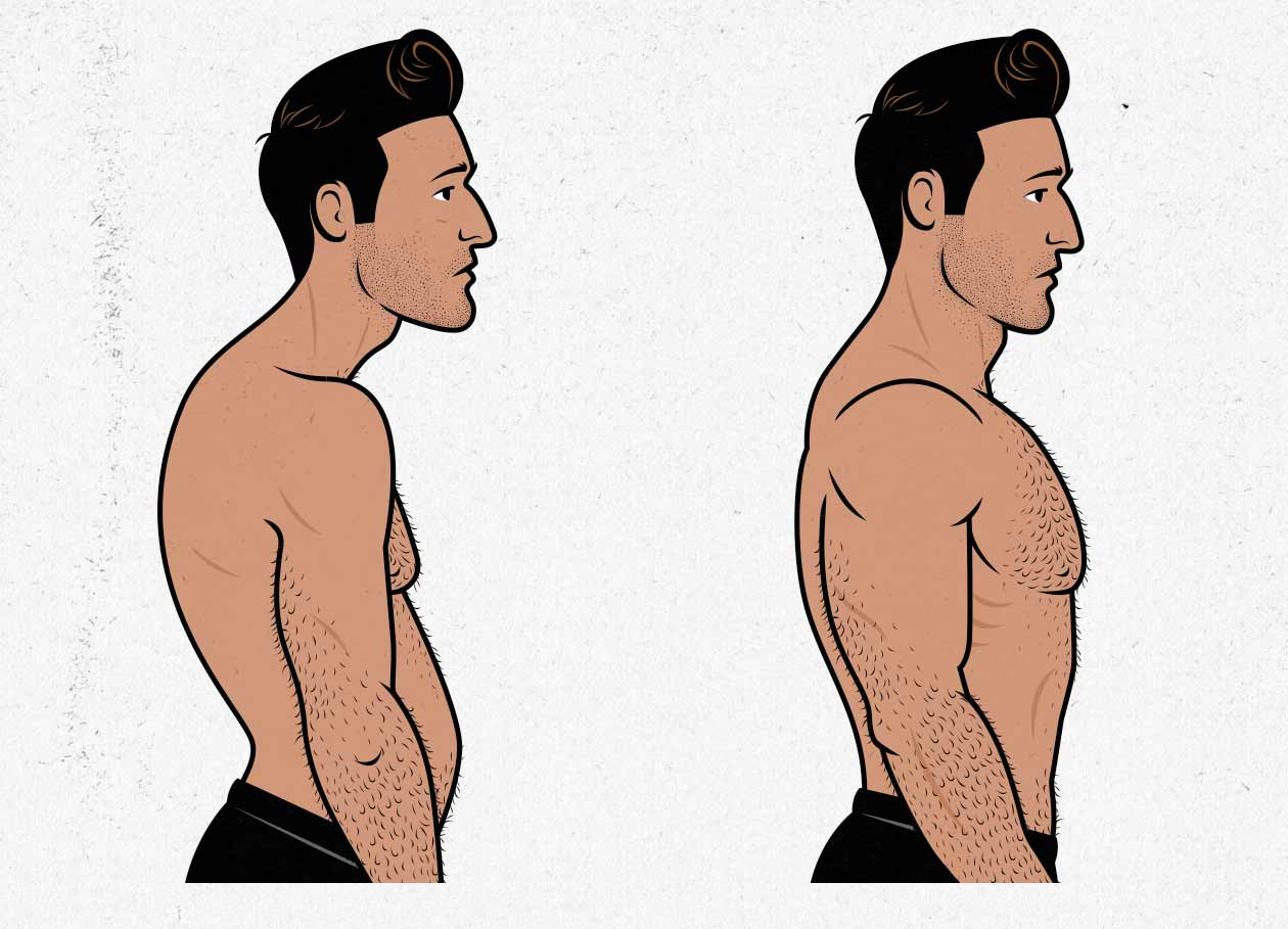 Illustration of a man improving his posture and building up a bigger back.