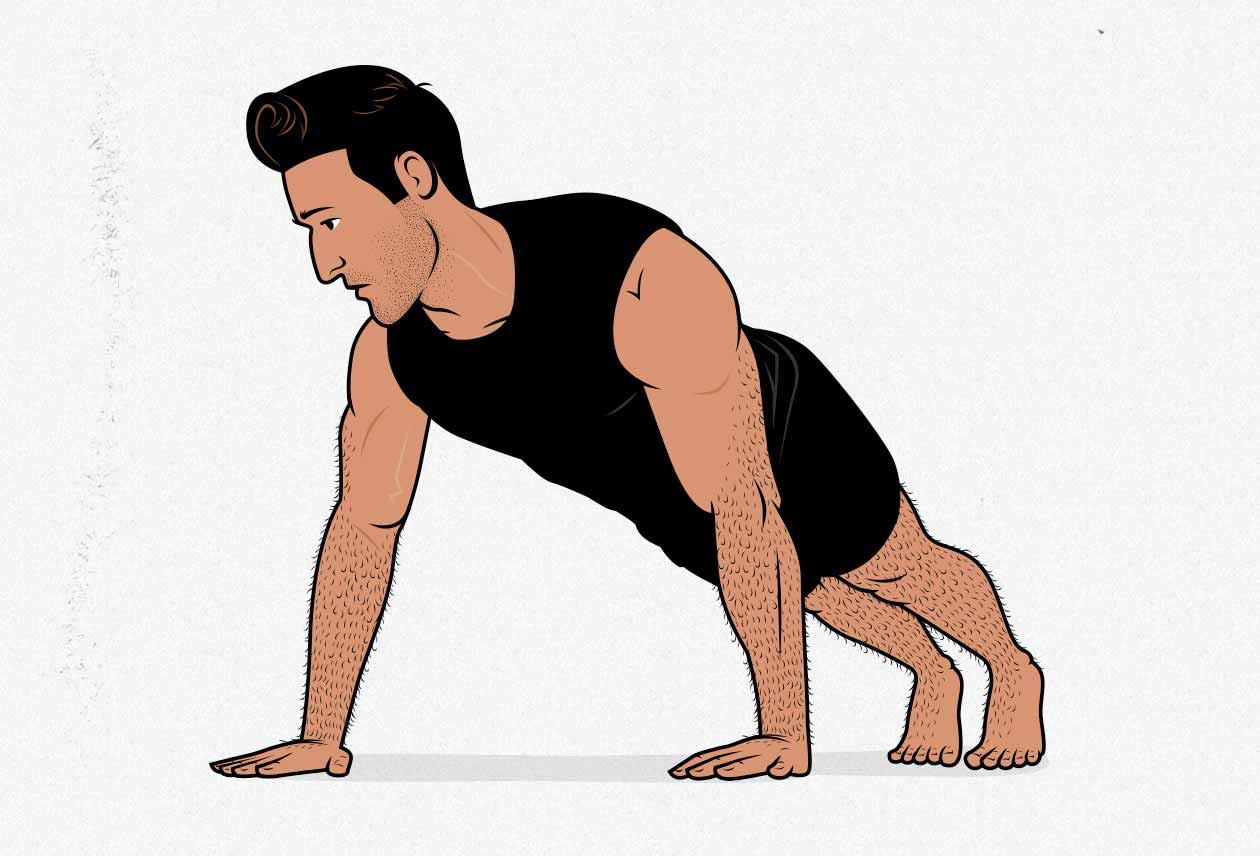 Illustration of a man doing a push-up.