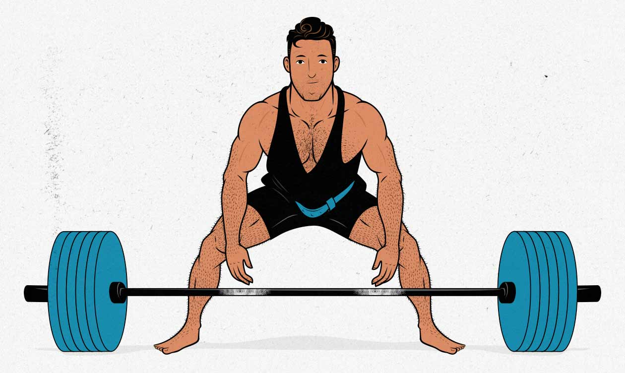 Illustration of a man doing a barbell sumo deadlift.