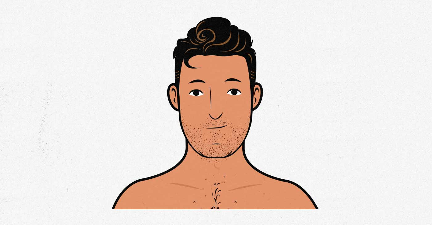 Illustration of the average male neck size.