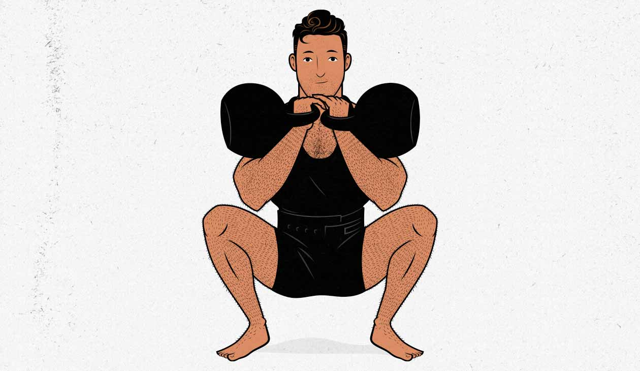 Illustration of man doing front squats with kettlebells.