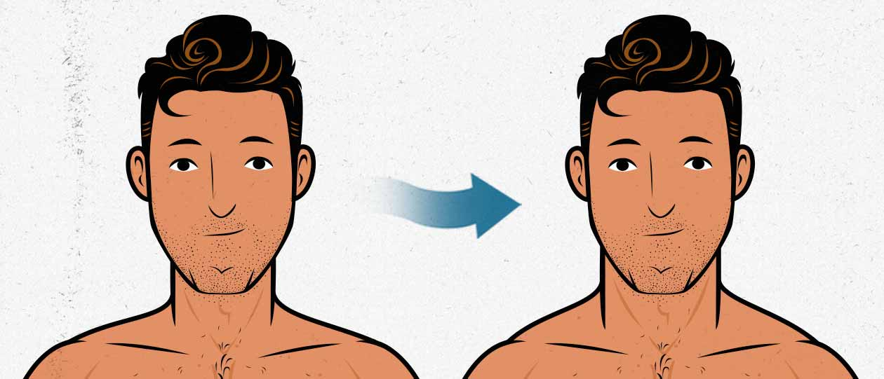 Before and after illustration of a man with a skinny neck building a muscular neck.