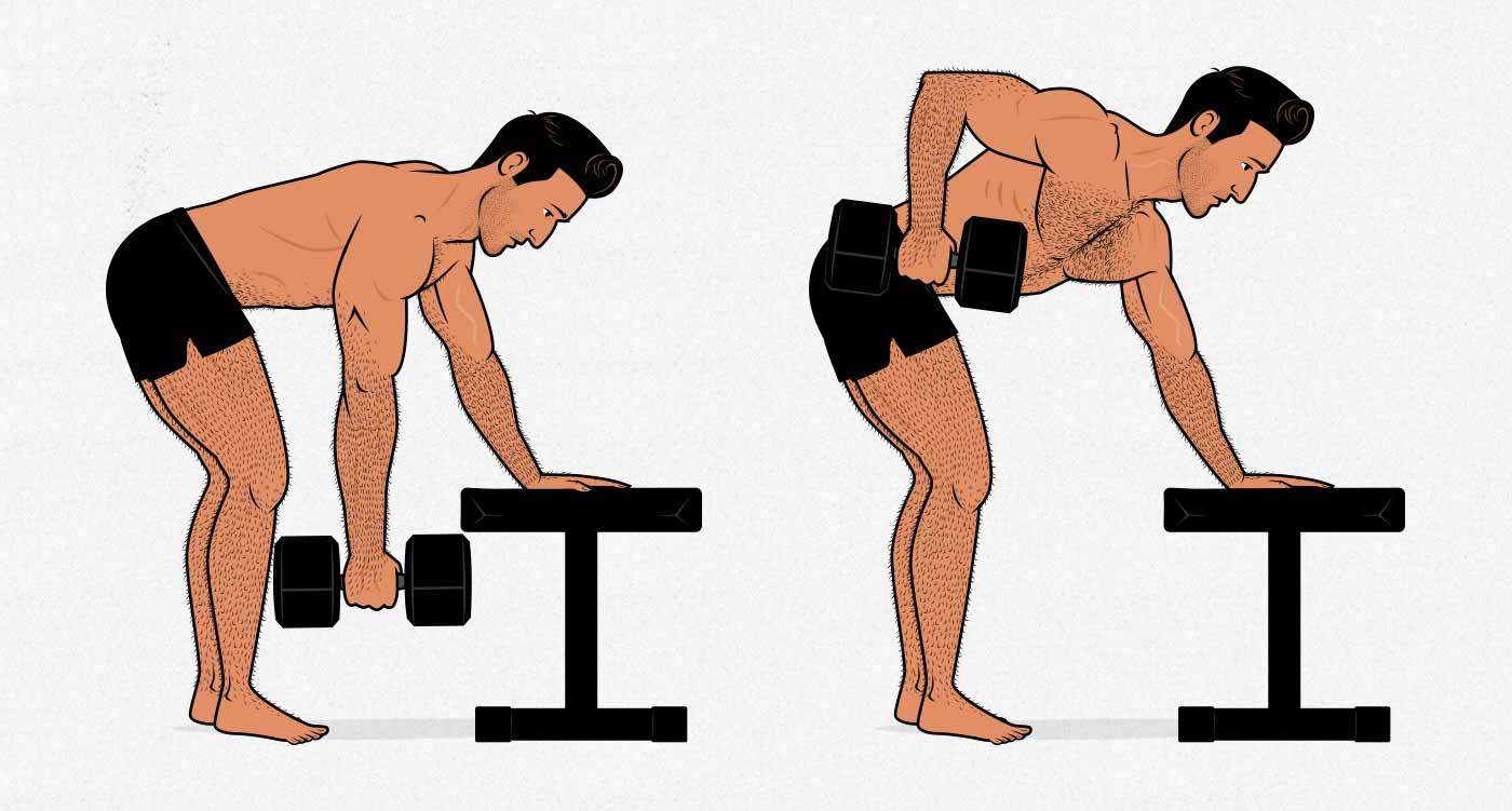 Illustration of a man doing a 3-point dumbbell row.