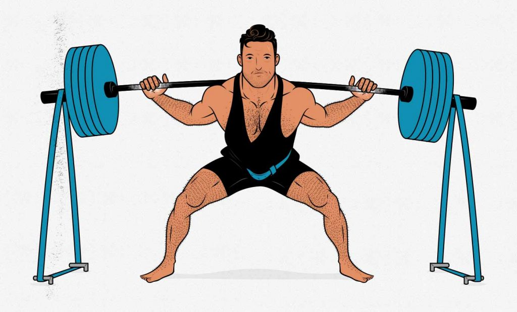 Illustration of a powerlifter doing a barbell back squat with resistance bands (accommodating resistance).