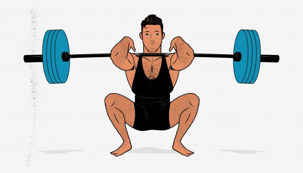 Illustration of a man doing a barbell front squat.