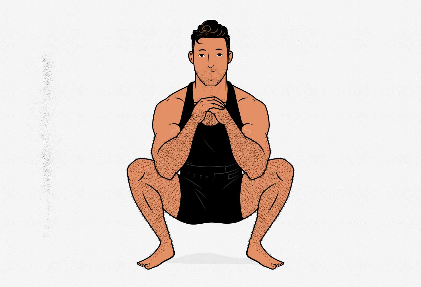 Illustration of a man doing a bodyweight air squat.