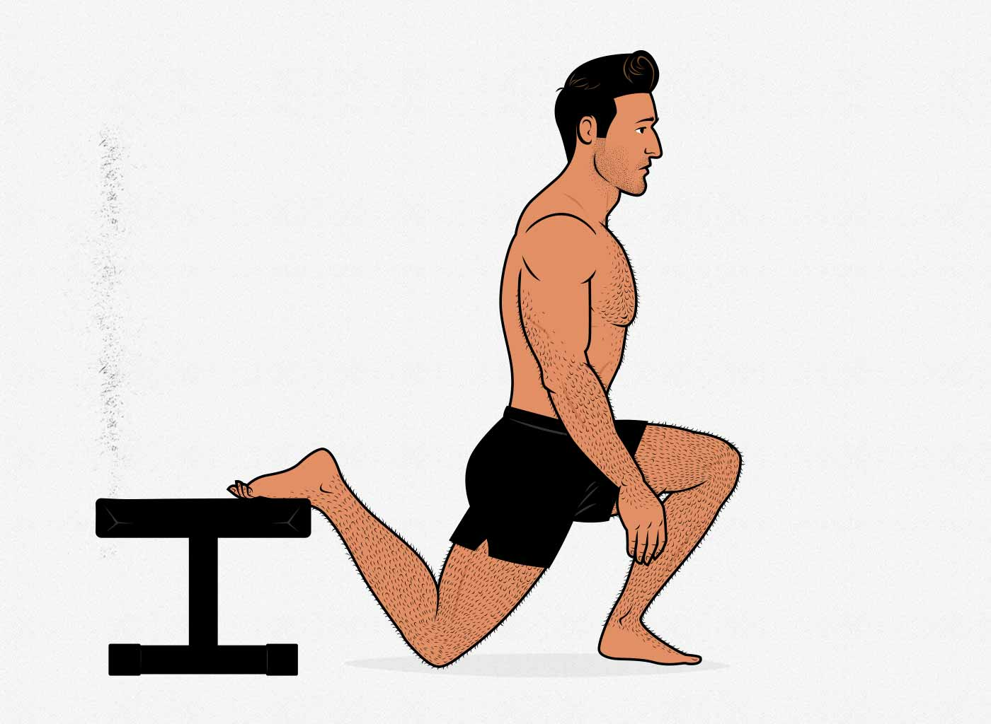Illustration of a man doing bodyweight bulgarian (rear-foot-elevated) split squats.