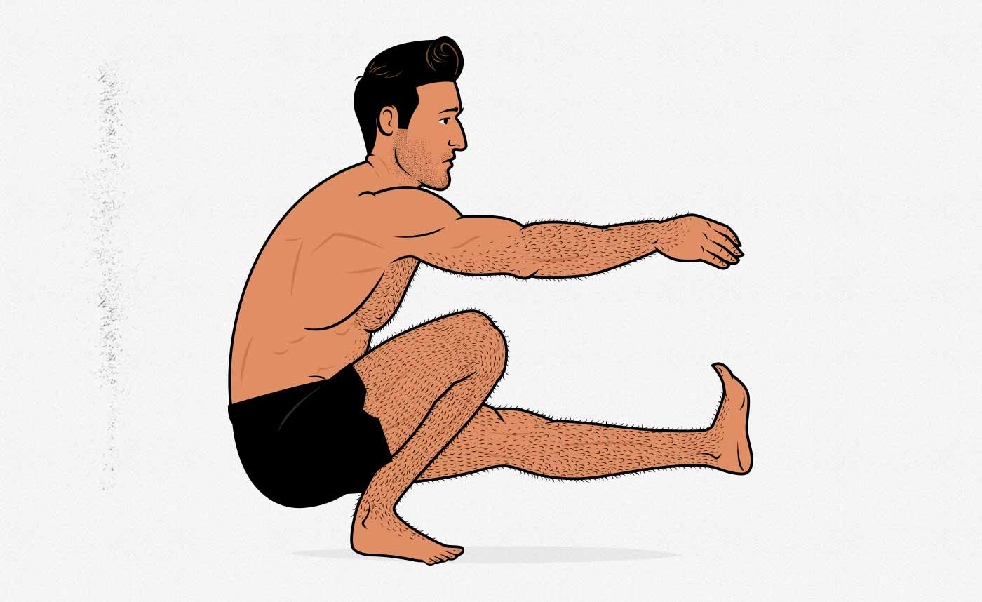 Illustration of a man doing a bodyweight pistol squat.