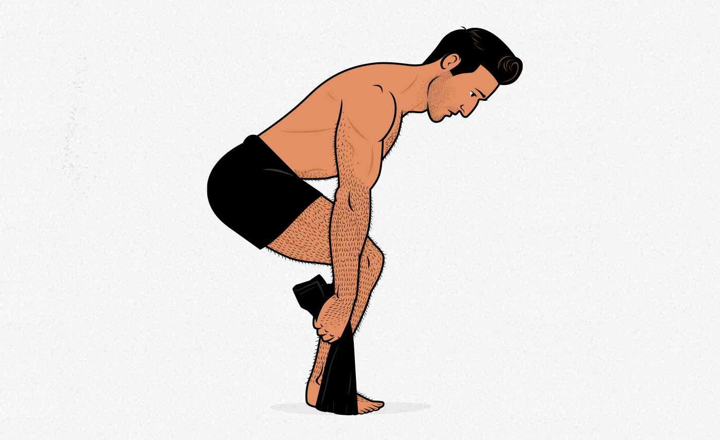 Illustration of a man doing a bodyweight towel deadlift isometric.