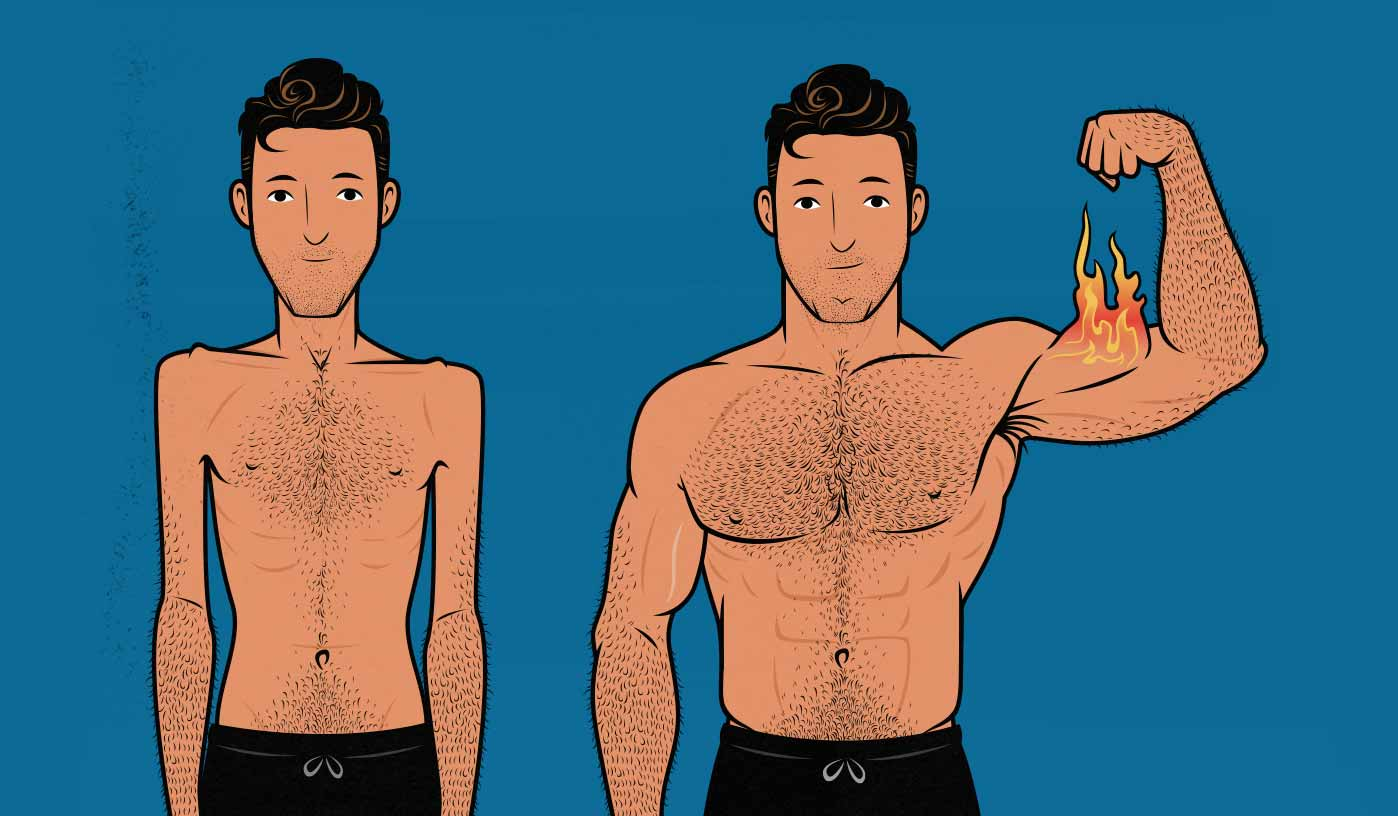 Illustration of a skinny hardgainer building muscle and bulking up.