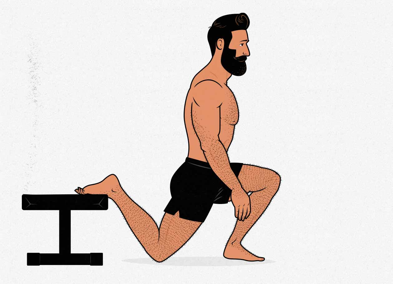 Illustration of a man doing a Bulgarian split squat.