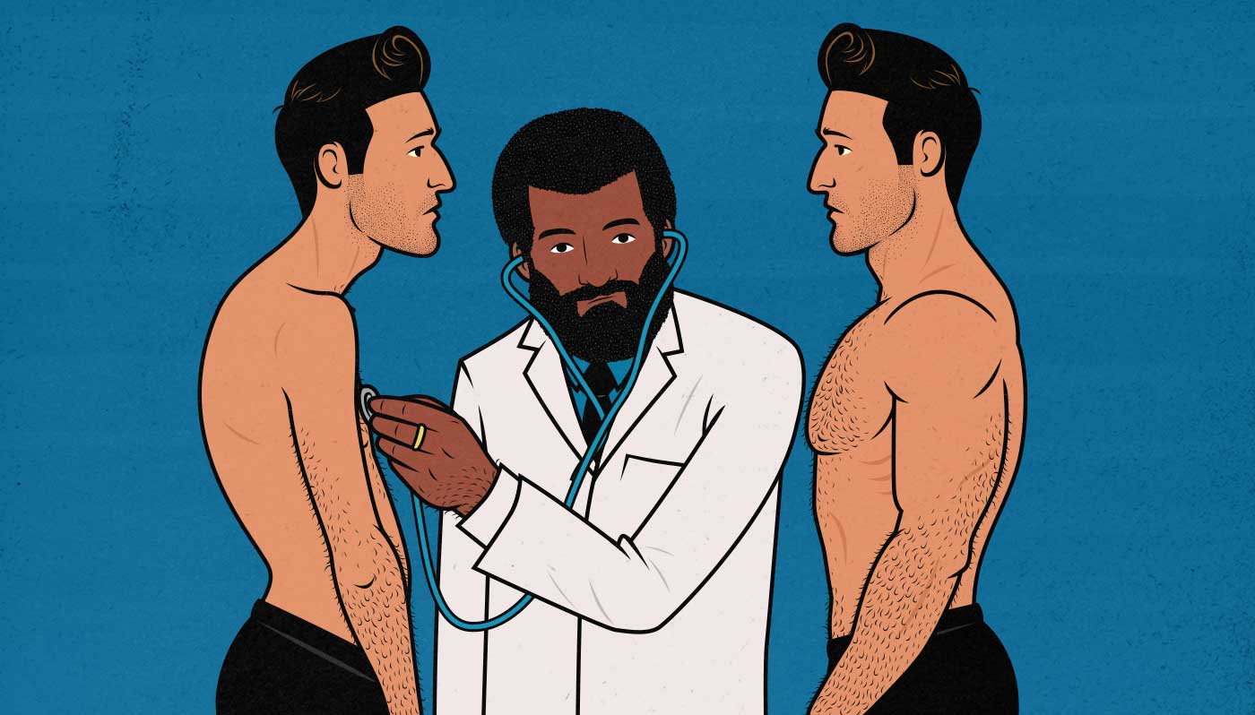 Illustration of a doctor evaluating a skinny and a muscular man.