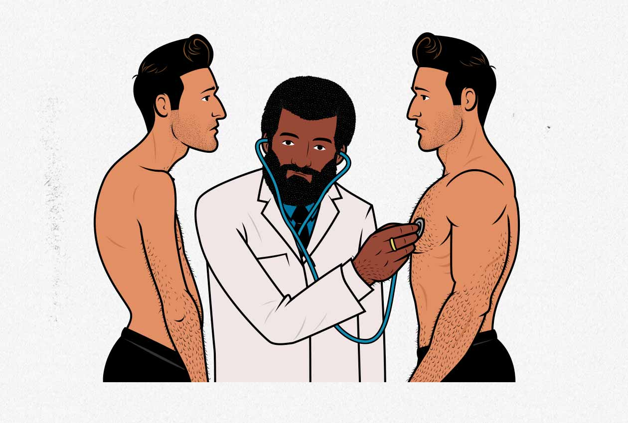 Illustration of a doctor checking a skinny and muscular man to see if they're healthy.