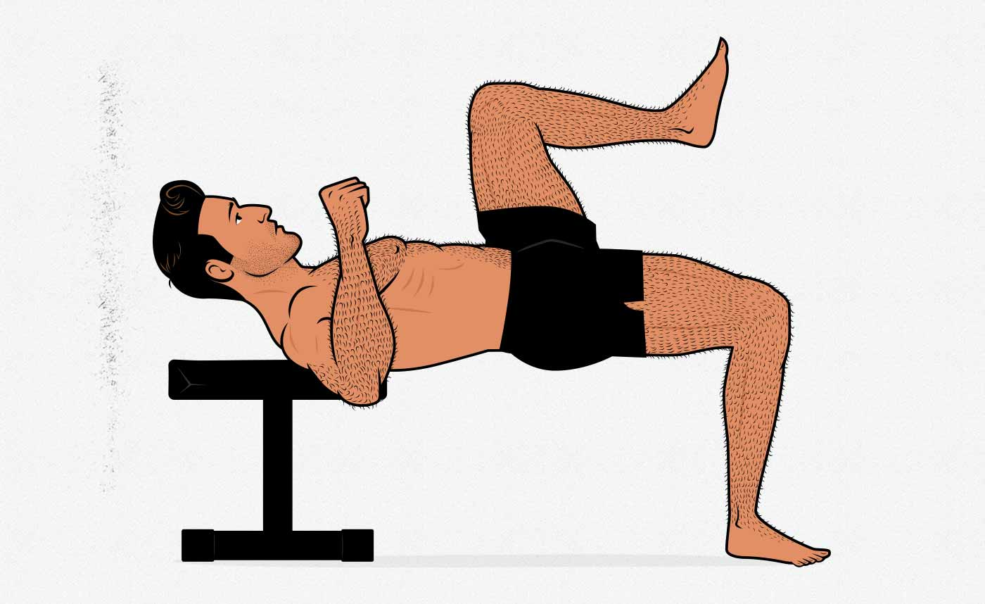 Illustration of a man doing a one-legged bodyweight hip thrust.