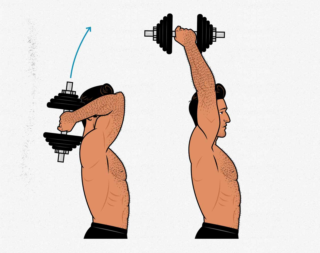 Illustration of a man doing dumbbell overhead triceps extensions.